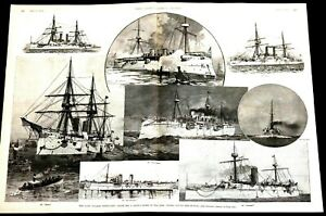 Italian Difficulty 1891 UNITED STATES NAVY SHIPS MEN OF WAR Lg Print w STORY