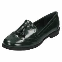 Spot On F8R0122 Ladies Green Patent Loafer Style Shoes UK Sizes 3-7 (R5A)