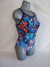 NIKE Blue SPLATTER Women's Fastback Open Back Swimsuit ~Retail $74.00~ Size 12