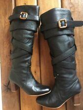 Bottes bottines boots talons CHLOE Paddington 37 38 cuir noir doré Très bon état