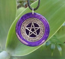 Pentacle Pendant in purple pearl resin, spiritual pagan wiccan witch  jewellery