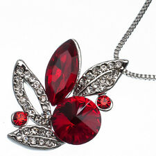 9.48 Ct Oval & Round Cut Style Shape Red Garnet CZ 18K White Gold Plated Pendant