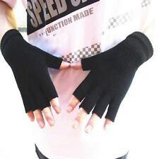 Warmer Men Women Stretch Knitted Gloves Fingerless Winter Warmer Mittens Black F
