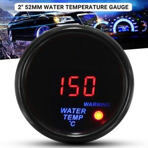 "2"" 52mm Water Temp Gauge Digital LED Temperature Car Auto Universal Meter 12V"