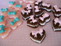 20 Heart Shape Cookie Cake Resin Miniature/Button/poly clay/doll house B153