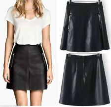 Unbranded Faux Leather A-Line Solid Skirts for Women