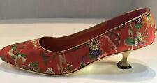 Vintage Taj Mahal Gold Sole Shoe Metal Heel Red Silk Print I Dream Of Genie 60's