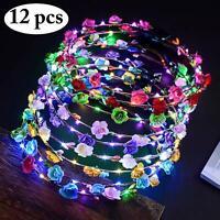 LED Flower Headband - 12Pcs Flower Luminous Crown Garland, LED Flower Headdress