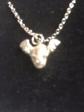 """Skull Bat TG329A Made In Fine English Pewter On 16"""" Silver Plated Curb Necklace"""