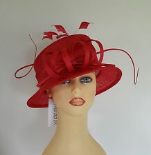 Ladies Formal Hat Wedding Races Mother Bride Tulip Red  By Maddox NEW Rrp £89