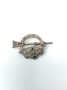 Amazing Vintage Sterling Silver 925 Ruby Sapphire & Emerald Tara Brooch 8g #307