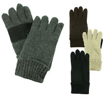 Ragg Wool Mens Knit Winter Gloves Gray Black Thermal Thinsulate Polar Fleece