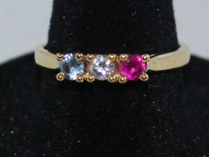 10k Gold family ring with Ruby, CZ and Blue Topaz