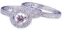 14K White Gold Round Forever One Moissanite Diamond Engagement Ring Band 1.75ct