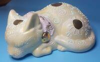 Vintage Japanese Porcelain Kutani Sleeping Cat Pastel Moriage Pristine 6.5 inch