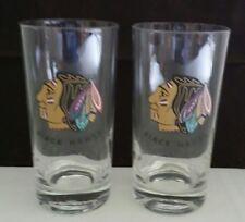 Vintage Set Of 2 Chicago Blackhawks Hi Ball Glasses - Old Logo - NHL