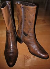 Markon Wms Brown /blackish Leather Western Style Boots 9.5