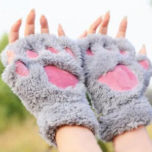 Cat Paw Gloves, Fingerless, Grey, Fluffy, UK Seller, BNWT