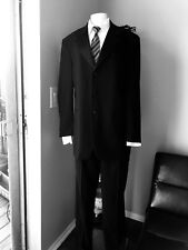 Black Wedding Prom Tuxedo 3 Button with Pants Wool/Satin Made in Italy 40R