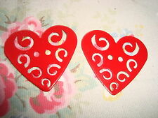2 Pierced Red  Metal Heart Buttons