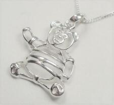 STERLING SILVER CUDDLY TEDDY POOH  BEAR SILHOUETTE LOVE ANIMAL PENDANT NECKLACE