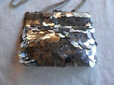SASSY SILVER FISH SCALE EVENING BAG
