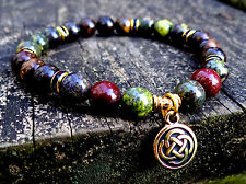 Genuine bloodstone and bronzite bracelet w/ gold Celtic knot and crystals