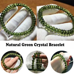 8mm Green GEM MOLDAVITE Meteorite Impact Glass Round Bead Bracelet