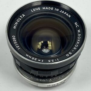 Minolta MC W Rokkor SG 28mm f3.5 wide angle lens (EARLY STYLE) with CASE