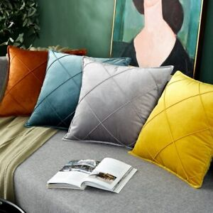 Art Embroidery Plaid Yellow Blue Velvet Cushion Pillow Cover Case Home