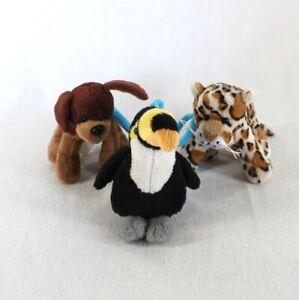 Ganz Webkinz Kinz Klip Lot of 3 Plush Key Clip Brown Dog Spotted Leopard Parrott