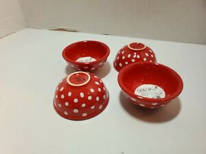 The Pioneer Woman Red with White Retro Dot Condiment/Dip Bowls Set of 4