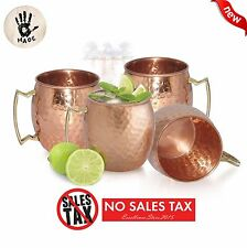 4 Moscow Mule Mug Cup Drinking Hammered Copper Brass Steel Gift Set, 18 Oz NEW
