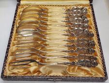 Löffel und Gabel Set Hildesheimer Rose Muster Punze Halbmond Krone 800er Silber