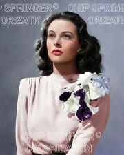 HEDY LAMARR WEARING CORAGE ON PINK DRESS BEAUTIFUL COLOR PHOTO BY CHIP SPRINGER