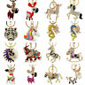 New Cute Crystal Horse Keyring Keychain Pony Rhinestone Key Chain Ring Bag Charm