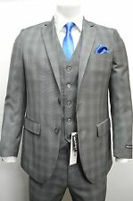 Men's Gray Glen Plaid 3 Piece 2 Button Slim Fit Suit SIZE 46L NEW