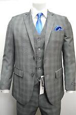 Men's Gray Glen Plaid 3 Piece 2 Button Slim Fit Suit SIZE 40R NEW