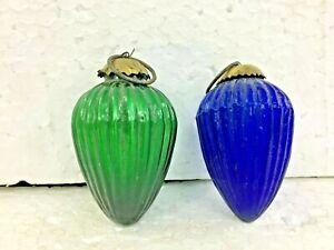 Vintage Old Blue & GREEN Glass Oval Shape Ball Kugel Christmas Tree /HOME Decor