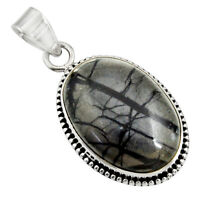 21.48cts Natural Black Picasso Jasper 925 Sterling Silver Pendant Jewelry D41241