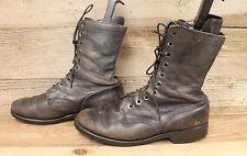 Mens Vintage Leather Military Black Combat Boots Sz 11