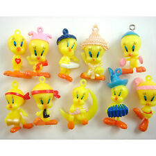 10 pcs Tweety Birds DIY Pvc Jewelry Making Assorted Figures Charms Pendant SET