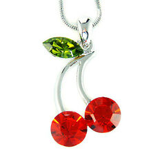 w Swarovski Crystal Sexy Hot Red Juicy ~CHERRY~ Pendant Chain Necklace Xmas Gift