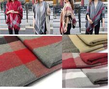 Womens Large Tartan Soft Cashmere Blend Pashmina Scarf Check Shawl 140x140cm