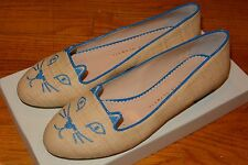 NIB Authentic CHAROTTE OLYMPIA Flats Kitty Embroidered Raffia