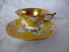 Rosenthal Art Deco aparte Mokkatasse Handgemalt voll vergoldet gelb bunt Blume