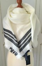 ZARA LARGE WHITE LADIES ACRYLIC SCARF/SHAWL. BLACK STRIPES. SUPER SOFT. NEW. TAG