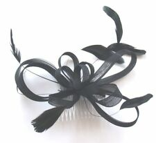 Large Cream Coiled Net and Feather Fascinator on a Comb Wedding Races Ascot