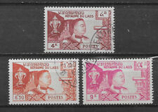 LAOS , UN , 1959 , KING SISAVANG VONG ,  SET OF 3 , PERF , USED