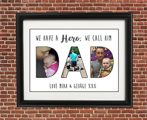 FATHERS DAY GIFT A4 Present Birthday Personalised Photo Print Grandad Daddy